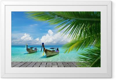 Gerahmtes Poster Steg mit Blick auf das tropische Meer