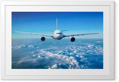 Poster en cadre Avion de ligne dans le ciel - Thèmes
