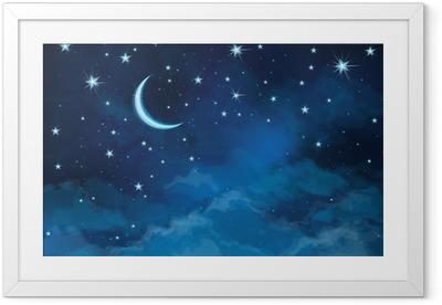 Gerahmtes Poster Vector Nachthimmel Hintergrund Sterne und Mond.