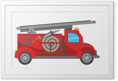 Gerahmtes Poster Feuerwehrauto-Cartoon