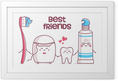 Tooth, toothpaste, dental floss, toothbrush Framed Poster