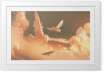Gerahmtes Poster Vögel formten Wolke im Sonnenunterganghimmel, Illustrationsmalerei