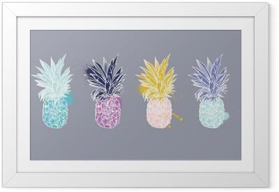 Ingelijste Poster Ananas tropische vruchten. Vector object.