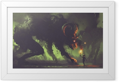 dark fantasy concept showing the boy with a torch facing smoke monsters with demon's horns, digital art style, illustration painting Framed Poster