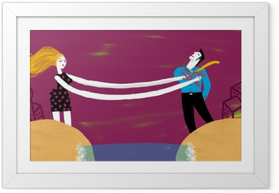 Mujer y hombre separados Framed Poster