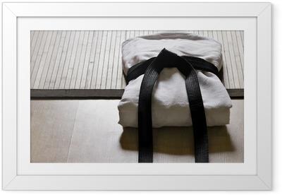 Ingelijste Poster Judo gi met zwarte band