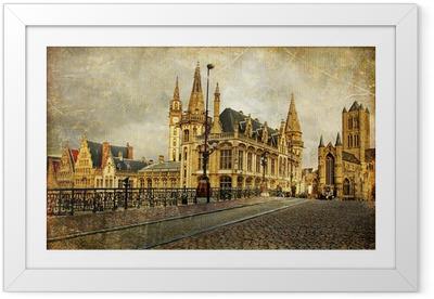 Ingelijste Poster Oude gotische België - Gent-retro stijl foto