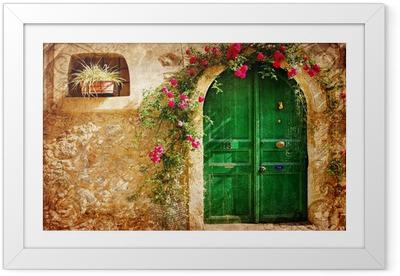 Póster com Moldura old Greek doors - retro styled picture