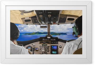 Ingelijste Poster Piloten in het vliegtuig cockpit en het eiland