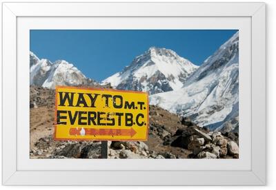 Gerahmtes Poster Wegweiser Weg zum Everest BC montieren