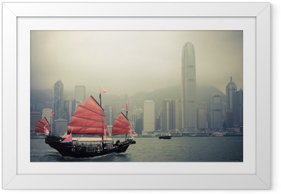 Poster in Cornice Barca a vela in stile cinese a Hong Kong