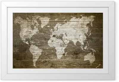 Grungewood - Weltkarte Framed Poster