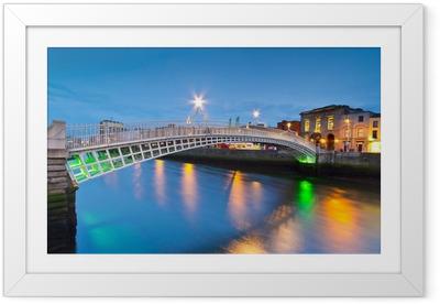 Ha'penny broen i Dublin om natten, Irland Indrammet plakat