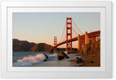 Poster en cadre Golden Gate Bridge à San Francisco au coucher du soleil - Thèmes