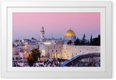 Gerahmtes Poster Klagemauer und Felsendom in Jerusalem, Israel