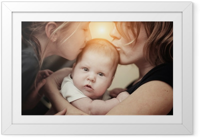 Mother and daughter kissing baby girl sister Framed Poster