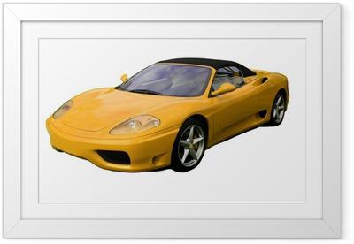 Gerahmtes Poster Gelben Cabrio Supersportwagen