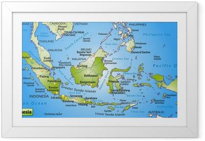 Landkarte von Indonesien mit Hauptstädten und Nachbarländern Framed Poster