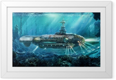 Fantastic submarine Framed Poster