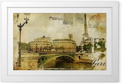 Ingelijste Poster Herinneringen over Parijs - vintage achtergrond