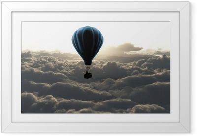 e640a30093c6 Hot air balloon in the sky Framed Poster