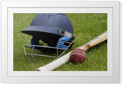 Cricket ball, bat and helmet on green grass of cricket pitch Framed Poster