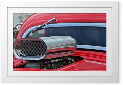 Gerahmtes Poster Detail der Lufteinlass-und Windschutzscheibe auf eigene Auto