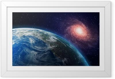 Poster i Ram Jord och en spiralgalax i bakgrunden