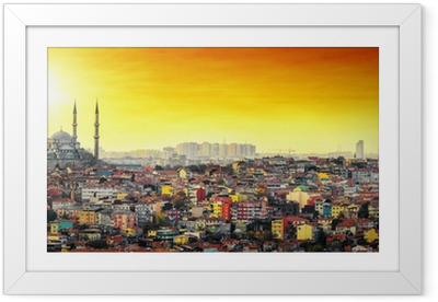 Póster com Moldura Istanbul Mosque with colorful residential area in sunset