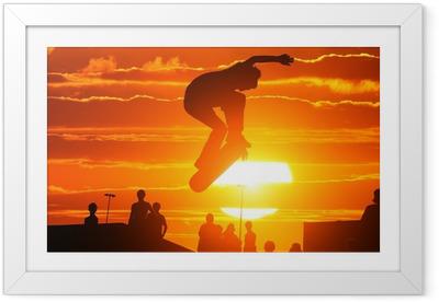 Poster in Cornice Salto estremo alto di skateboard skater boy