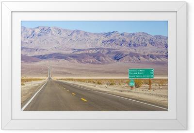 Plakat w ramie Death Valley krajobraz i znak drogowy, Kalifornia