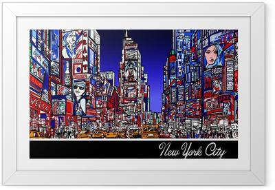 Ingelijste Poster Times Square in New York in de nacht