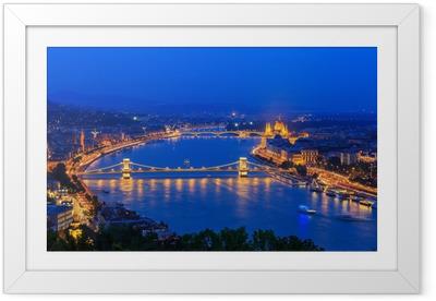 Innrammet plakat Donau, Budapest Ungarn