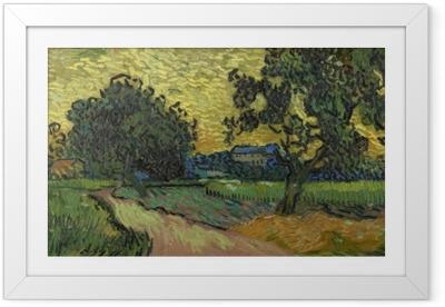 Ingelijste Poster Vincent van Gogh - Landschap met het kasteel van Auvers bij zonsondergang