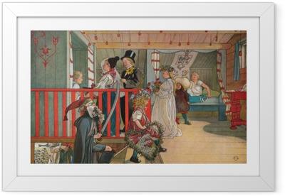 Innrammet plakat Carl Larsson - Navnedag på lagerhuset
