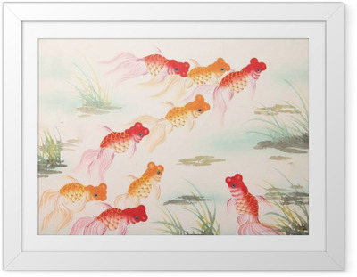 Poster i Ram Chinese guldfisk måla