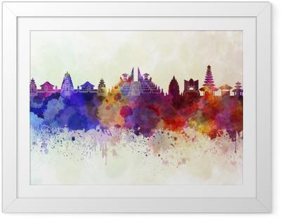 Poster in Cornice Bali skyline in background acquerello