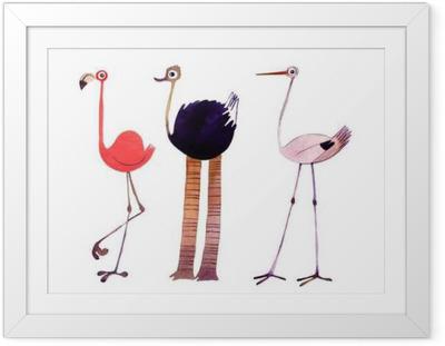Gerahmtes Poster Aquarell Vogel gesetzt. Flamingo, Strauß, Storch Hand bemalt Illustration
