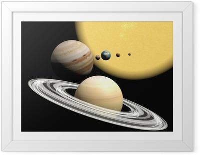 Aurinkokunta, abstact esitys. Kehystetty juliste