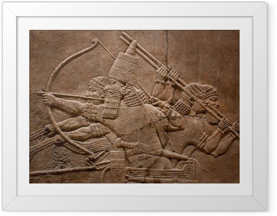 Poster in Cornice Sollievo Antico di guerrieri assiri in guerra