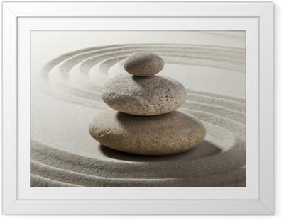 Gerahmtes Poster Zen-Garten mit Sand und Kies