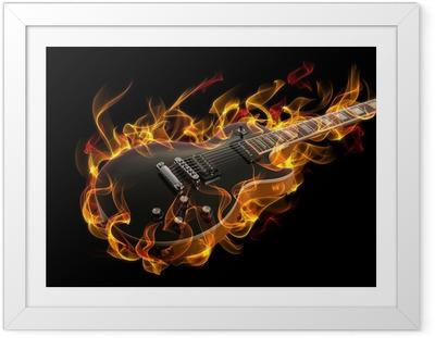 Póster Enmarcado Guitarra eléctrica en fuego y llamas