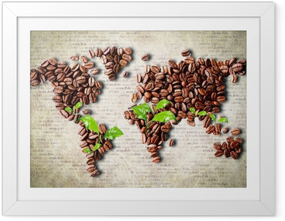 Ingelijste Poster Koffie over de hele wereld