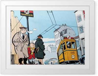Gerahmtes Poster Wandmalerei in Brüssel