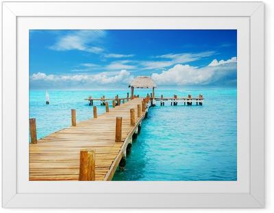 Plakat w ramie Wakacje w tropikalnym raju. Molo na Isla Mujeres, Meksyk