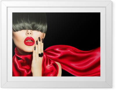 High Fashion Girl with Trendy Hairstyle, Makeup and Manicure Framed Poster
