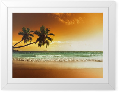 Ingelijste Poster Zonsondergang op het strand van de Caribische zee