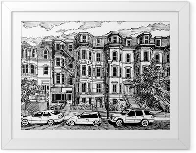 Gerahmtes Poster Viktorianischen Stadthäusern Vorderansicht