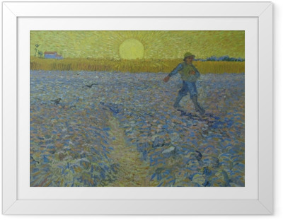 Plakát v rámu Vincent van Gogh - Rozsévač při západu slunce