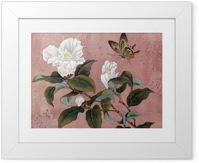 Poster i Ram Azalea blomma och fjäril